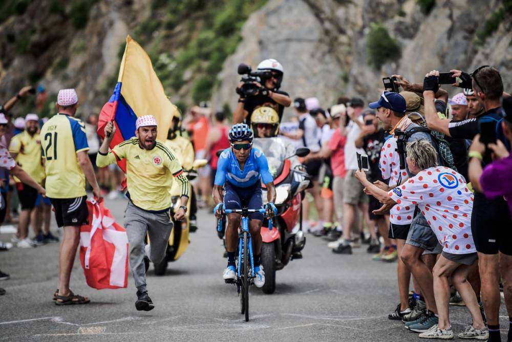 Nairo Quintana on his own on the Galibier.
