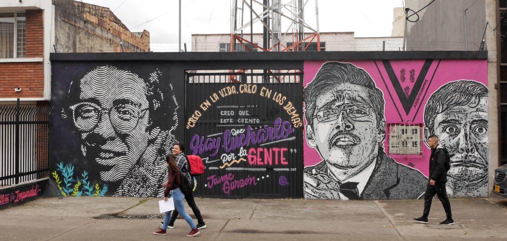 Remembering Jaime Garzón: DJ Lu mural close to his murder site on Cr 40, Bogotá. Photo: Steve Hide