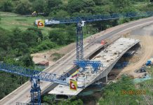 A construction site of a bridge on the Ruta del Sol II project