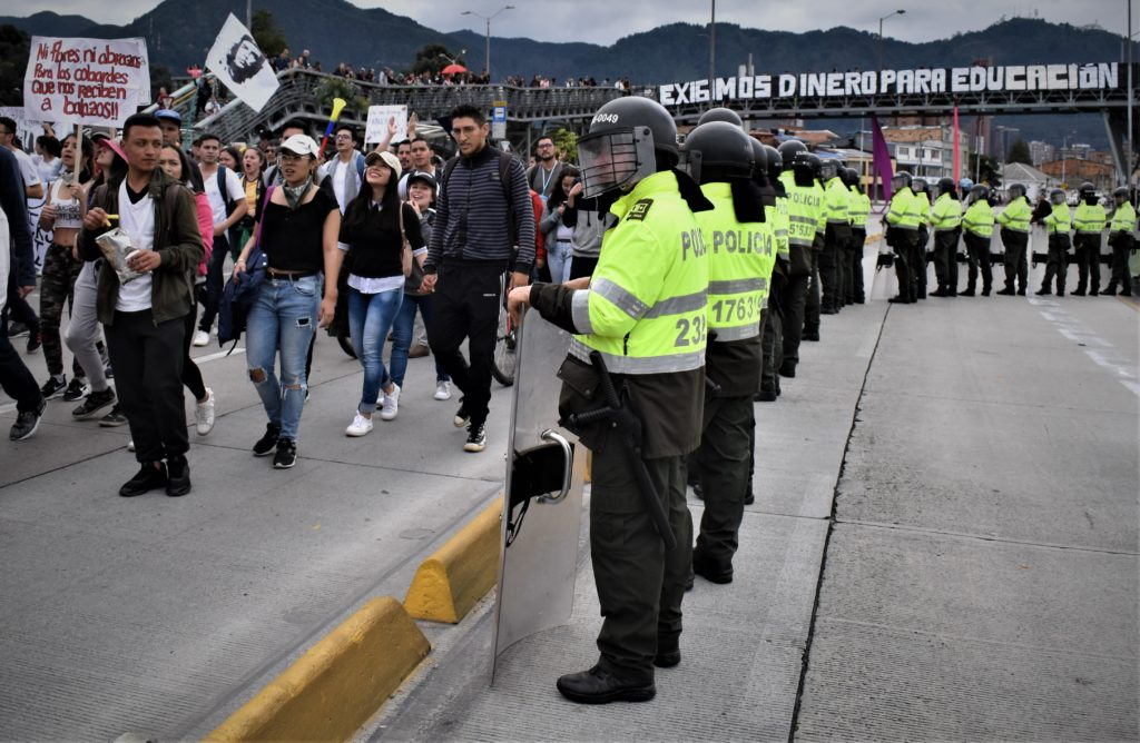 clashes between police and protesters at Colombia's national strike are likely to happen.