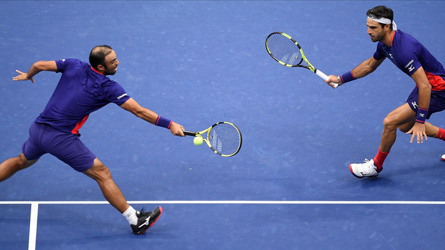 Juan Sebastian Cabal and Robert Farah in action against Marcel Granollers and Horacio Zeballos during the men's doubles final at the 2019 US Open.