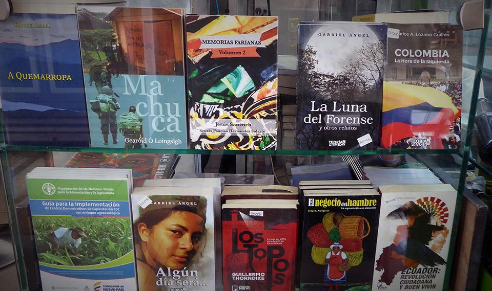 A range of books sold by Café Pushkin