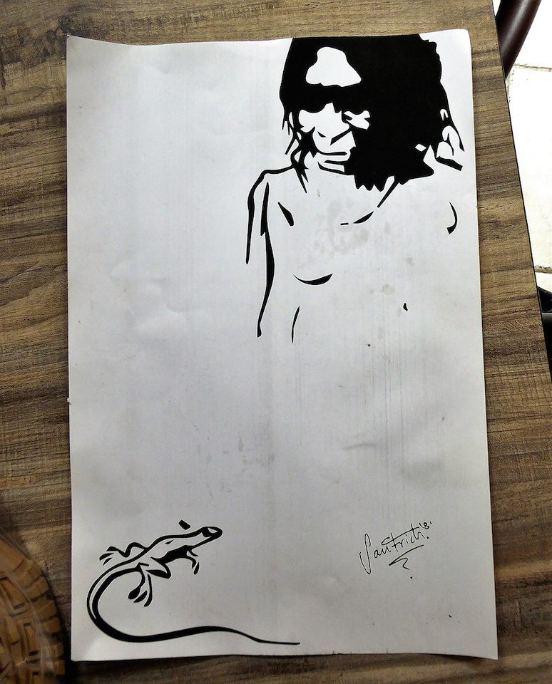 Art from renegade FARC leader Jesús Santrich before he lost his sight.