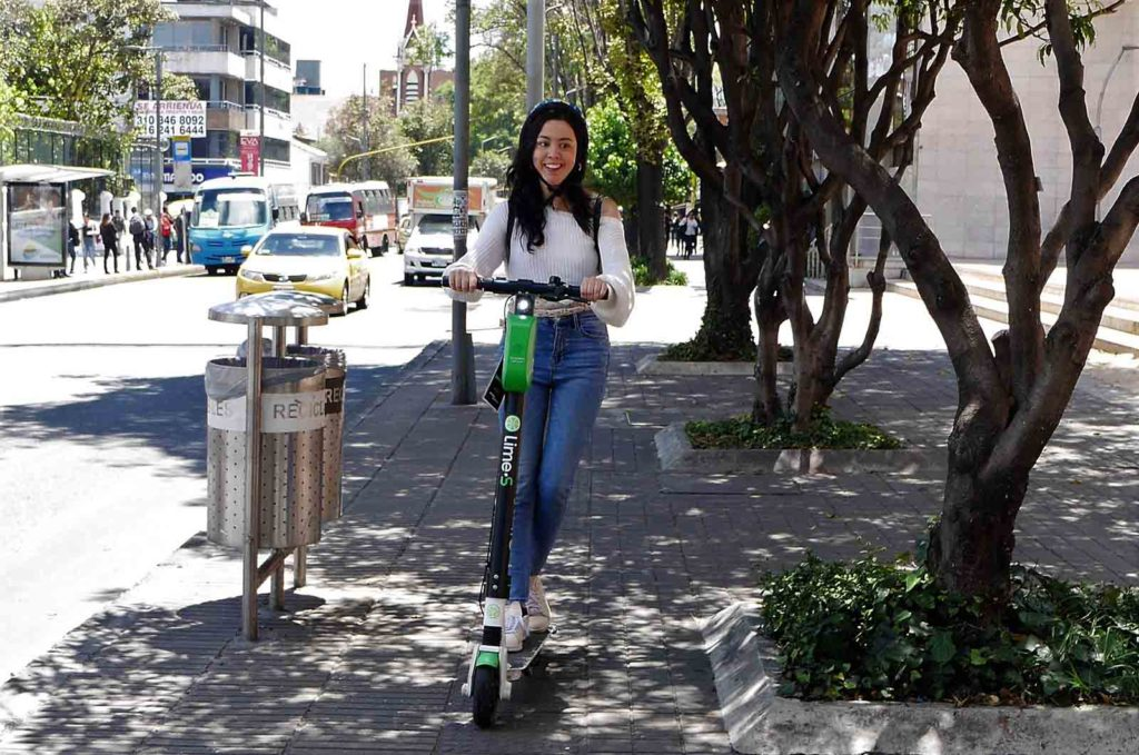 Bogotá scooters: Our not so-suited one. If you want to get one of your own, they'll set you back about two million pesos.
