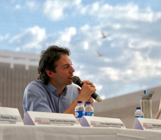 Daniel Quintero speaks on a panel in Medellin