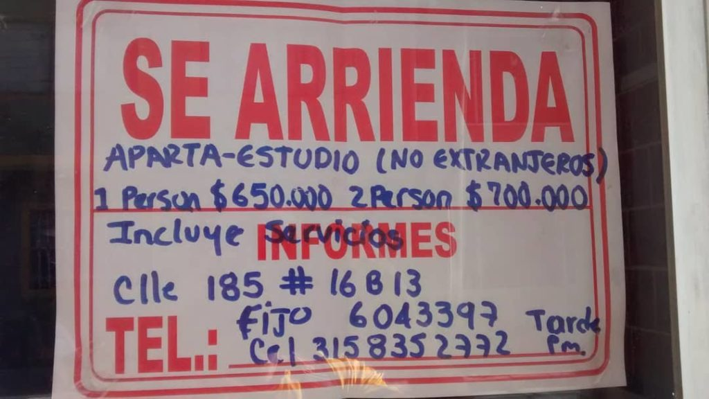 Apartment for rent, but not for extranjeros. I am a migrant too