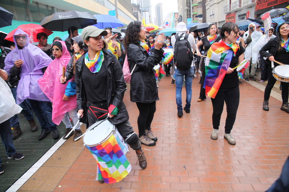 Bogotá protests: Protestors express themselves in creative ways.