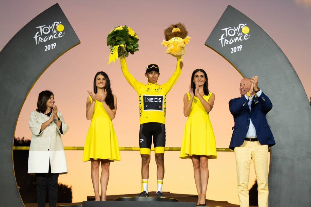 One of the biggest sport moments of the year: Colombia 's cyclist Egan Bernal wins the Tour de France 2019.