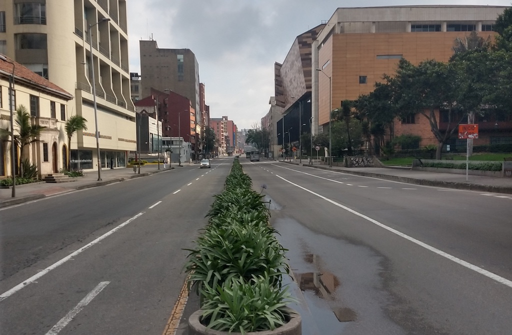 Empty streets of Bogotá during the quarantine in Colombia.