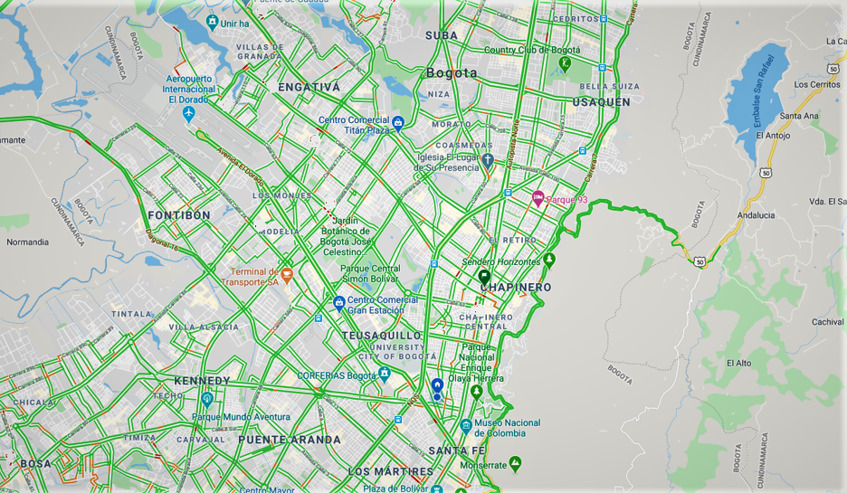 Going green: two weeks after Bogotá's quarantine, live traffic maps show zero rush hour.