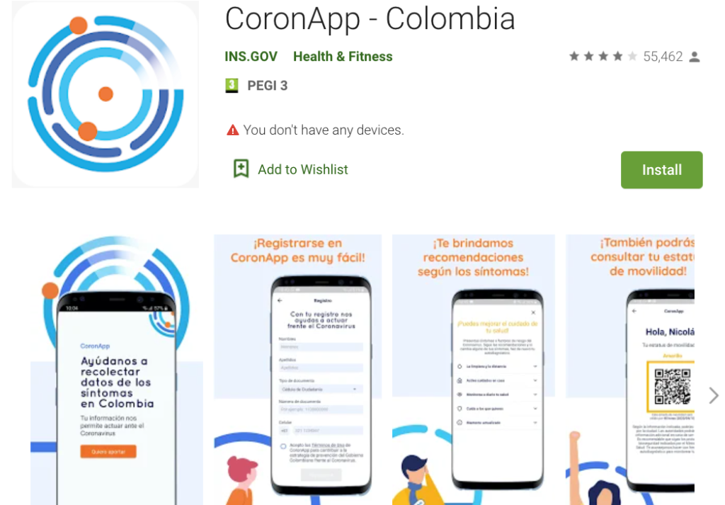 The CoronApp is available on all devices.