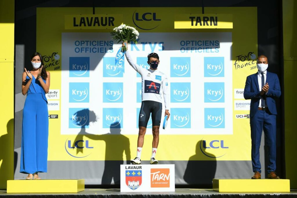 Egan Bernal is holding the white jersey for best youngster at the moment, but he is in the tour 2020 for the yellow jersey and nothing less.
