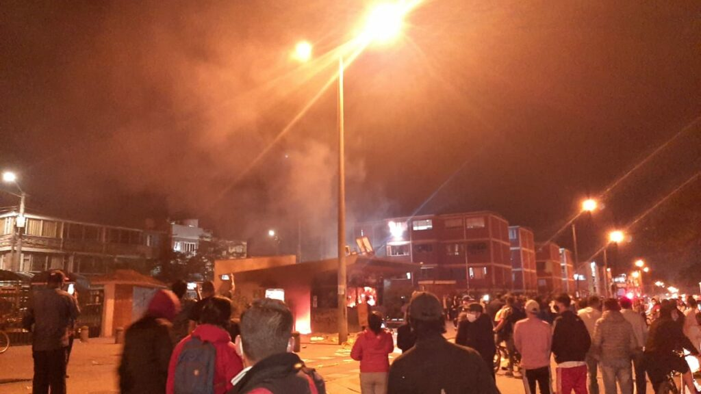 Police brutality caused riots in Bogotá.