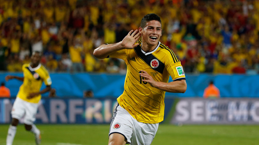 James Rodríguez in his best days, at the World Cup 2014 in Brazil.