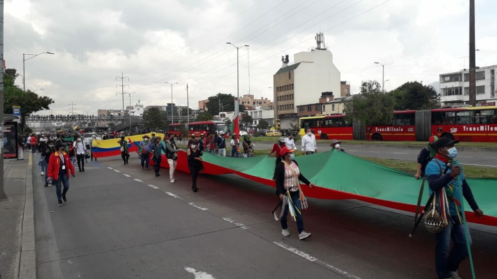 The Minga Indígena in Bogotá this week preparing for another national strike in Colombia.